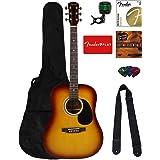 Fender Squier Dreadnought Acoustic Guitar - Sunburst Bundle with Fender Play Online Lessons, Gig Bag, Tuner, Strings, Strap,
