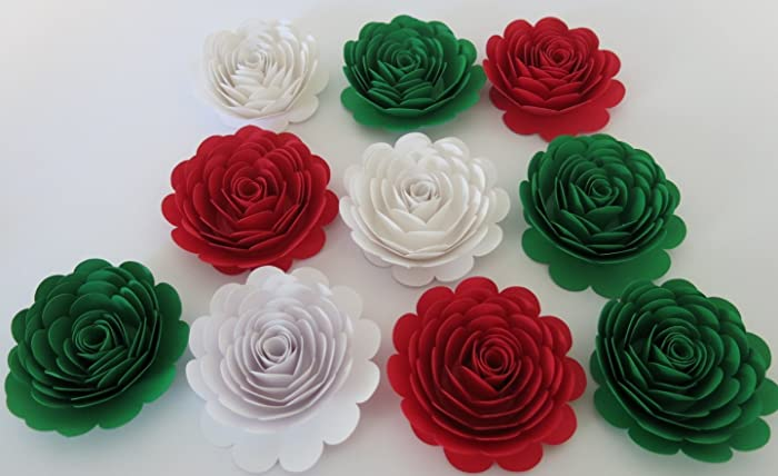 Amazon mexican american wedding decorations 10 large red white mexican american wedding decorations 10 large red white green roses italy flag colors 3quot mightylinksfo Gallery