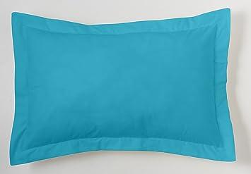 ES-TELA - Funda de cojín COMBI LISOS color Turquesa - Medidas 50x75+5 cm. - 50% Algodón-50% Poliéster - 144 Hilos - Acabado en pestaña