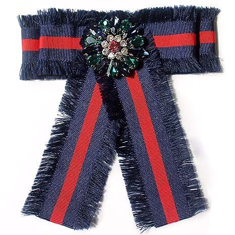 KUNQ-Flores Rojo Y Azul Camisas De Rayas Corbata Chica Bow Broche ...
