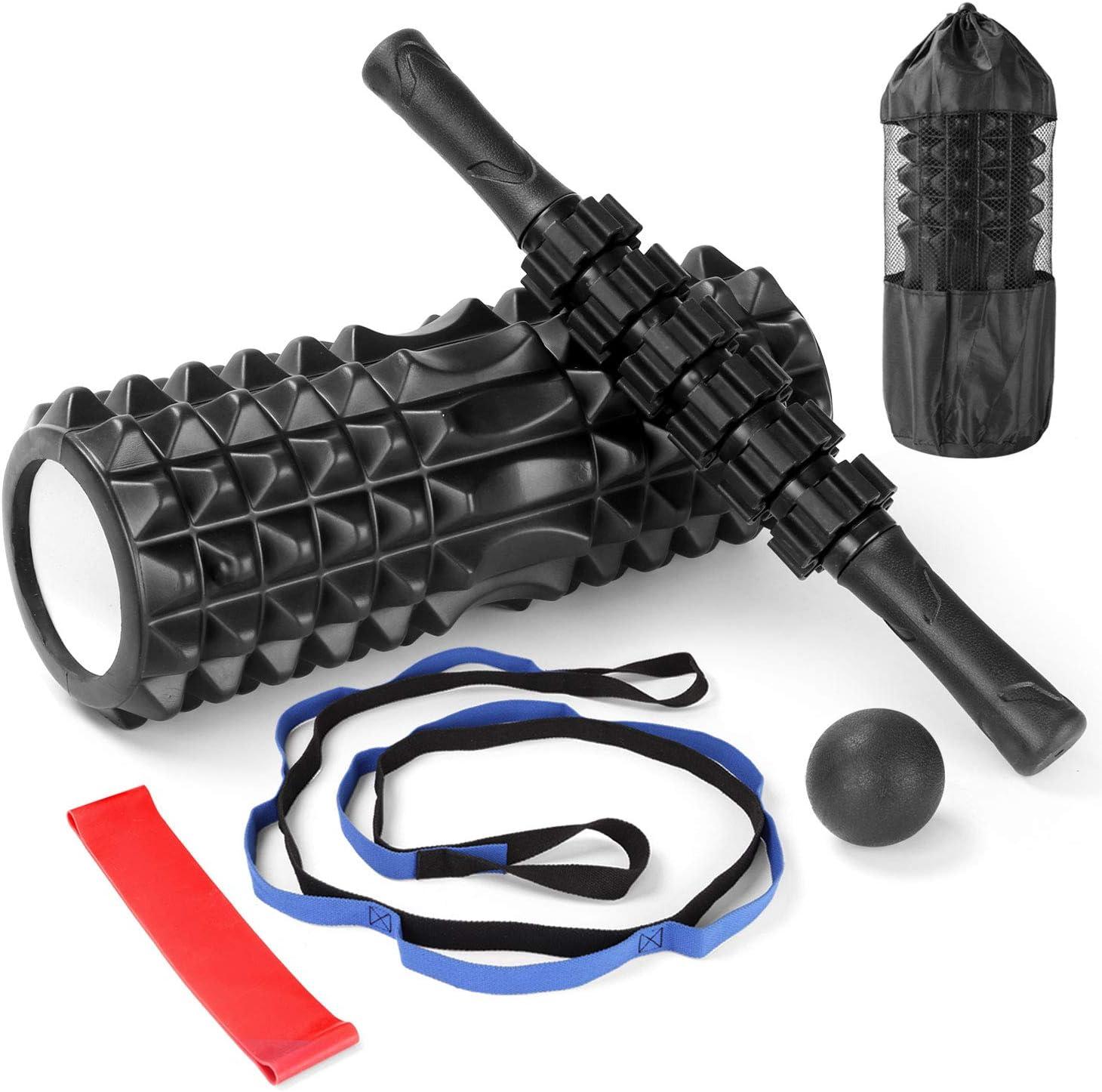Juego de Rodillos de Espuma de Alta Densidad de 13//33 cm Bandas de Resistencia El/ástica Bola de Masaje Odoland Foam Roller Kit 6-en-1 con Rodillo Masaje Muscular