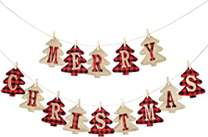 Yoochee Christmas Banner Burlap and Buffalo Plaid - Tree Shaped Merry Christmas Letters - Rustic Banner Flag for Home Wall Fireplace Mantle - Hanging Christmas Decoration Decor Party Supplies Indoor