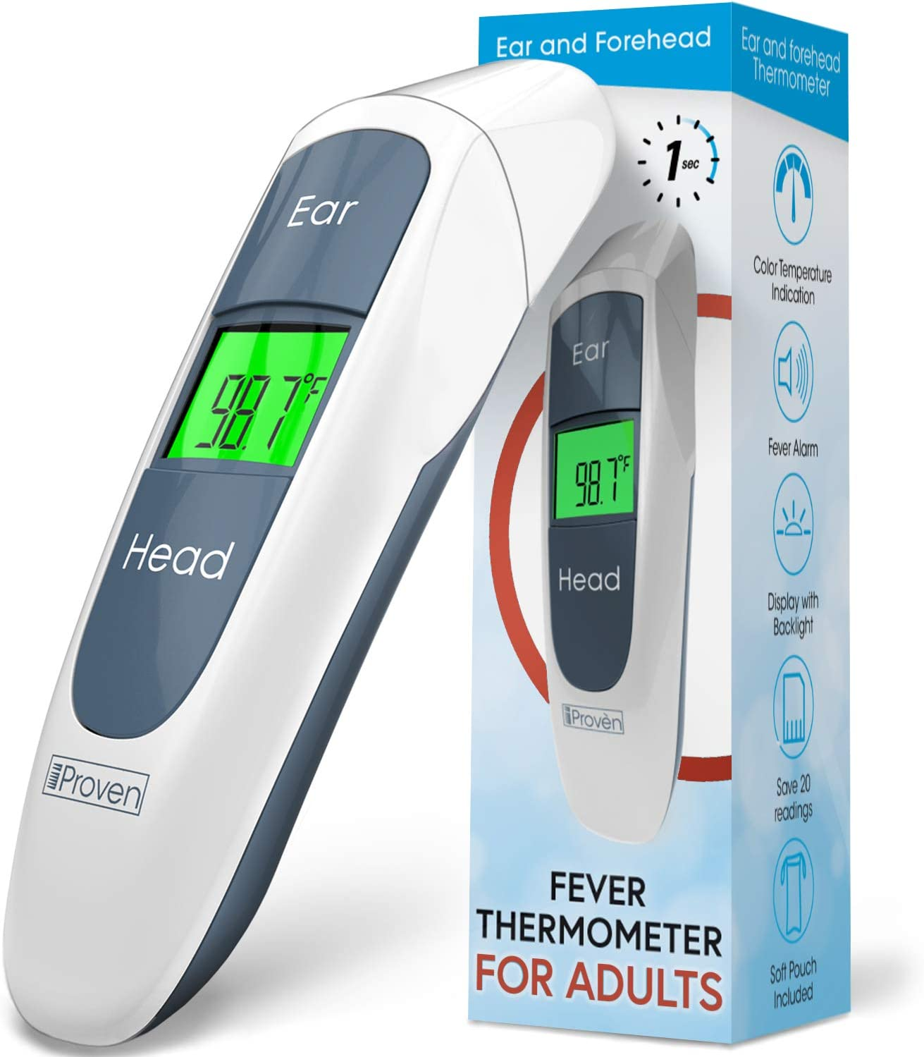 iProven Adult Medical Thermometer – Digital Thermometer for Fever – Temperature Measurements via Forehead and Ear – Pouch, Batteries, and Quick Start Guide Included – Temporal Thermometer DMT-316