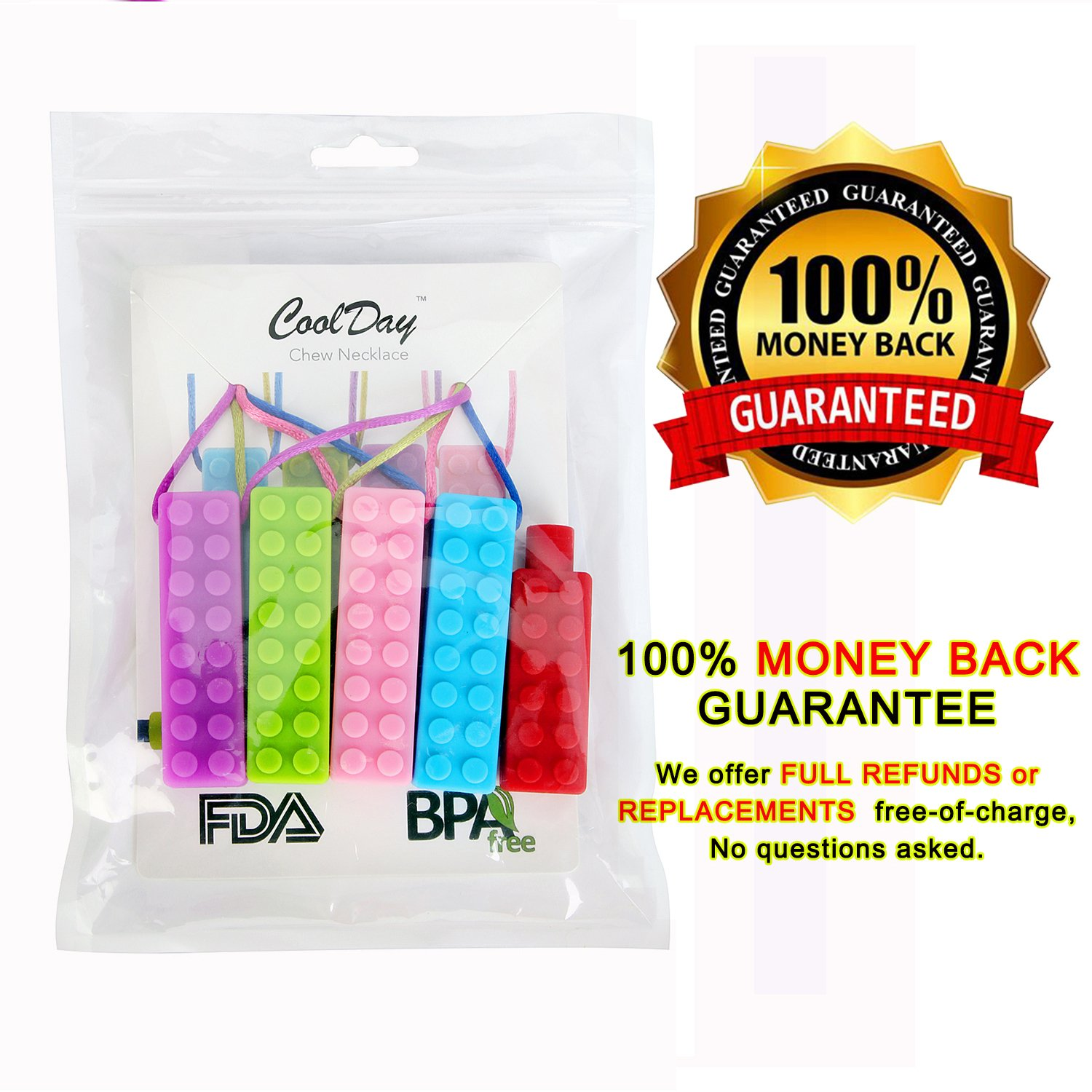  LAUNCH PRICE  Chew Necklaces Set - (4 PACK with Colored Cords + BONUS Pencil Topper) - Sensory Chew Toys for Autism, Biting, Teething, ADHD, SPD, Oral Motor Children, Kids, Boys, and Girls by Coolday
