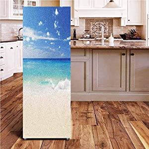 Angel-LJH Ocean 3D Door Fridge DIY Stickers,Tropical Haven Style Sandy Shore and Sea with Waves Escape to Paradise Theme Door Cover Refrigerator Stickers for Home Gift Souvenir,24x70