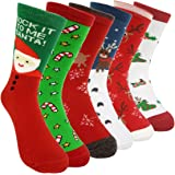 Womens Christmas Holiday Casual Socks - HSELL 6 Pairs Colorful Fun Cotton Crew Socks for Novelty Gifts