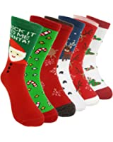 HSELL 6 Pairs Women's Christmas Holiday Casual Socks, Long Thin Cotton Bed Socks