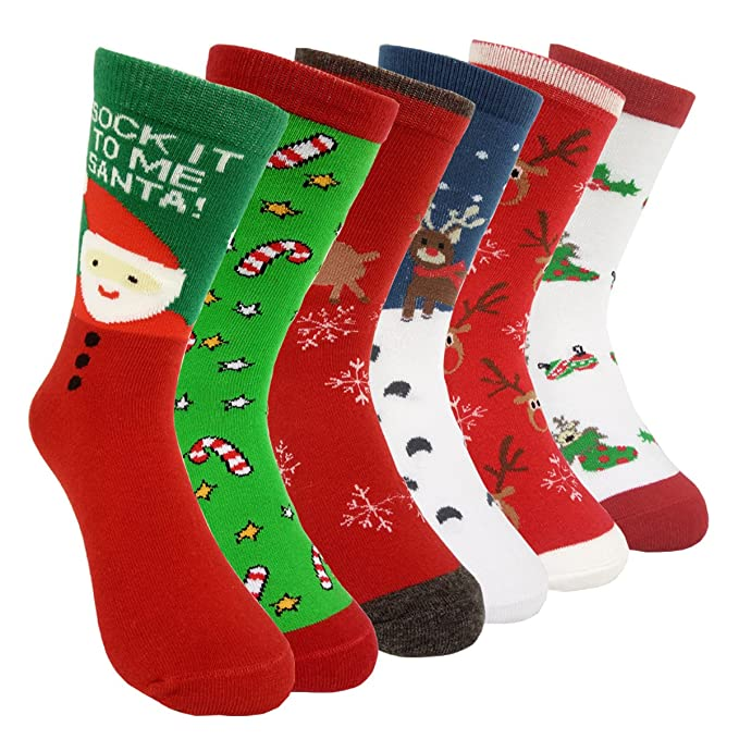 Womens Christmas Gifts.Womens Christmas Holiday Casual Socks Hsell 6 Pairs Colorful Fun Cotton Crew Socks For Novelty Gifts