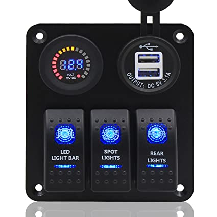 Switch Panel, FABOOD 3 Gang Waterproof Rocker Switches Panel with DC 12V  Digital Voltmeter / 3 1A Dual USB and 3 LED Lights Switchs for Marine Boat