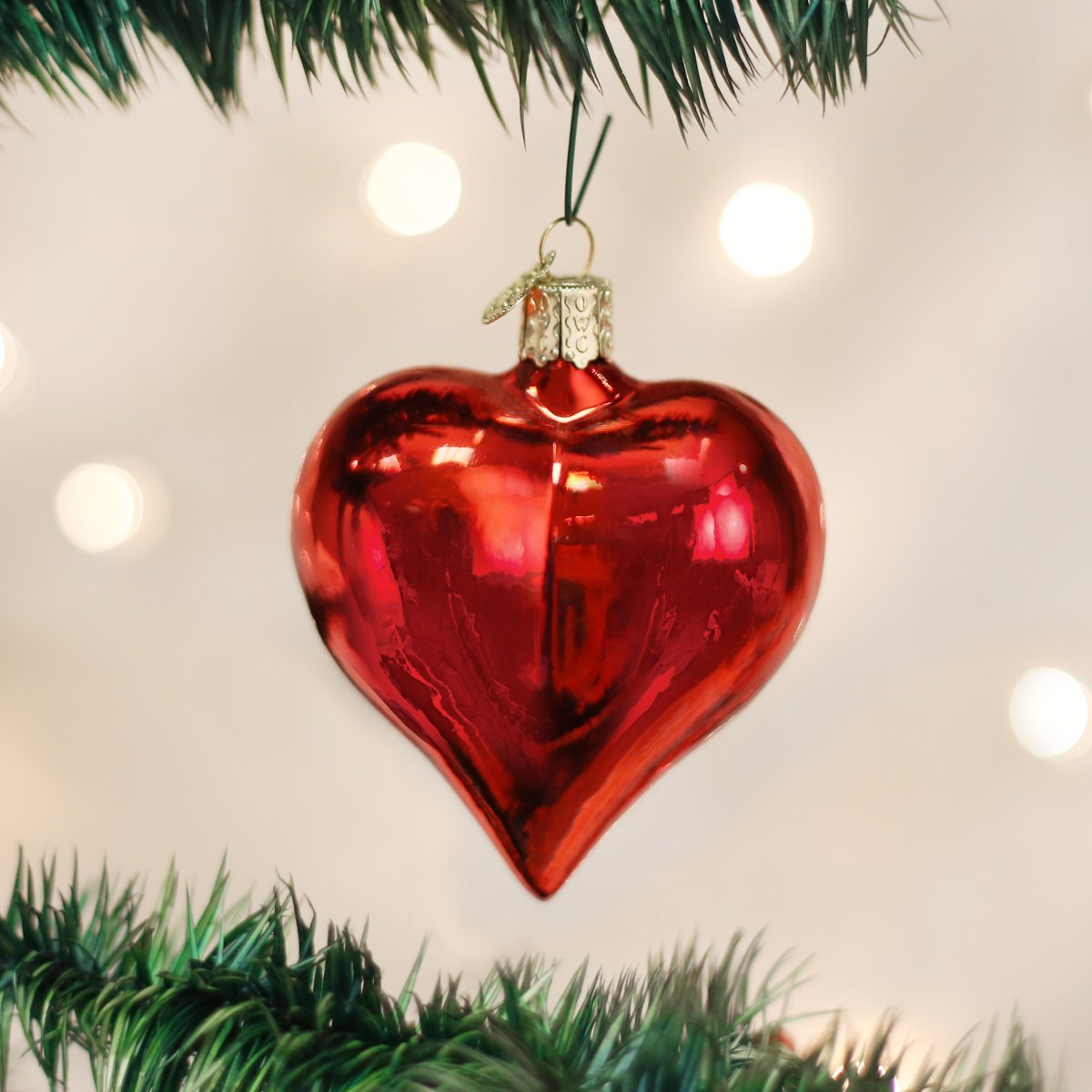 Large Shiny Red Heart Glass Blown Ornaments for Christmas Tree 30012 Old World Christmas Ornaments