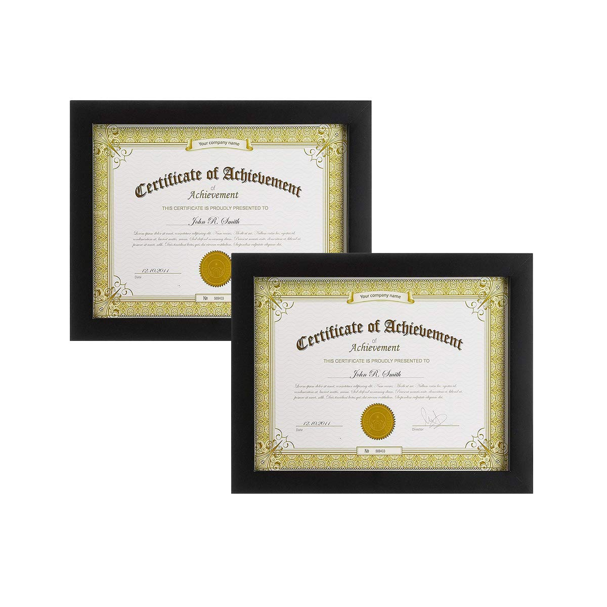 Golden State Art, Set of 2,Wooden Document Frame with Real Glass - Holds 8.5 by 11-Inch Certificate,- Black (2)