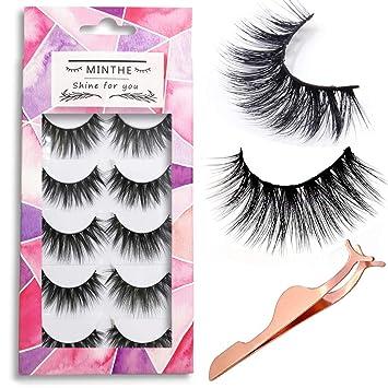 1f782b734b2 MINTHE 5 pairs Faux 3D Mink lashes multipack,False eyelashes natural with  an eyelash applicator