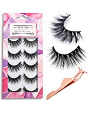 31dad0008fd MINTHE 5 pairs Faux 3D Mink lashes multipack,False eyelashes natural with  an eyelash applicator
