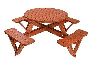 Panchina Rotonda : 4 posti rotonda tavolo da picnic in legno panchina da giardino