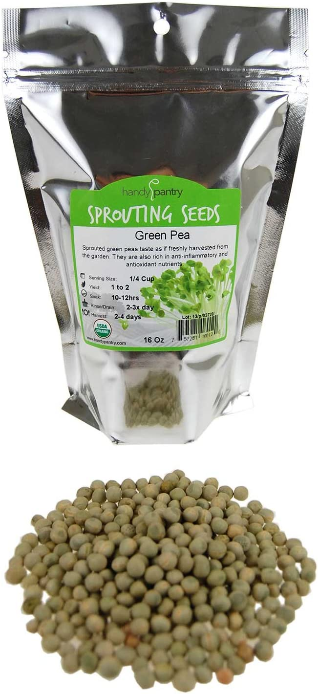 Certified Organic Dried Green Pea Sprouting Seed - 1 Lb - Handy Pantry Brand - Green Pea for Sprouts, Garden Planting, Cooking, Soup, Emergency Food Storage, Vegetable Gardening
