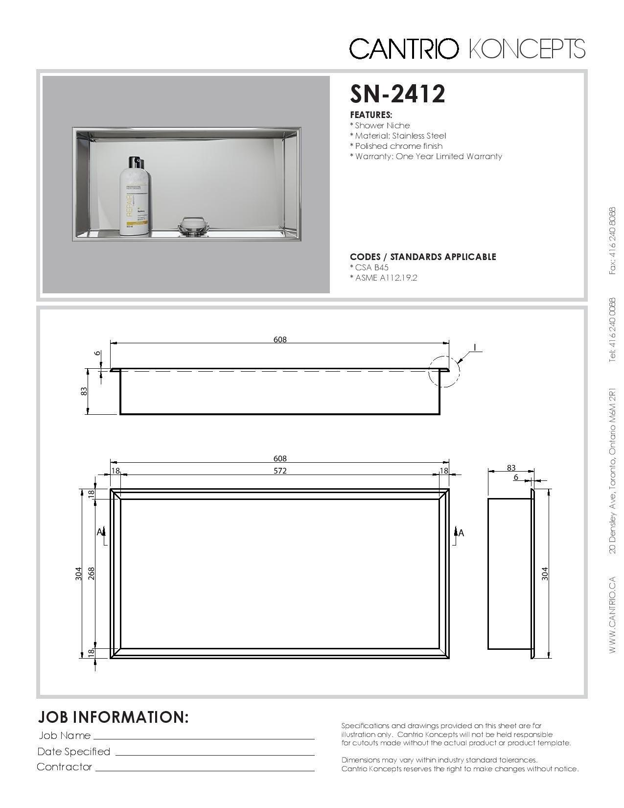 Cantrio Stainless Steel Shower Niche SN-2412