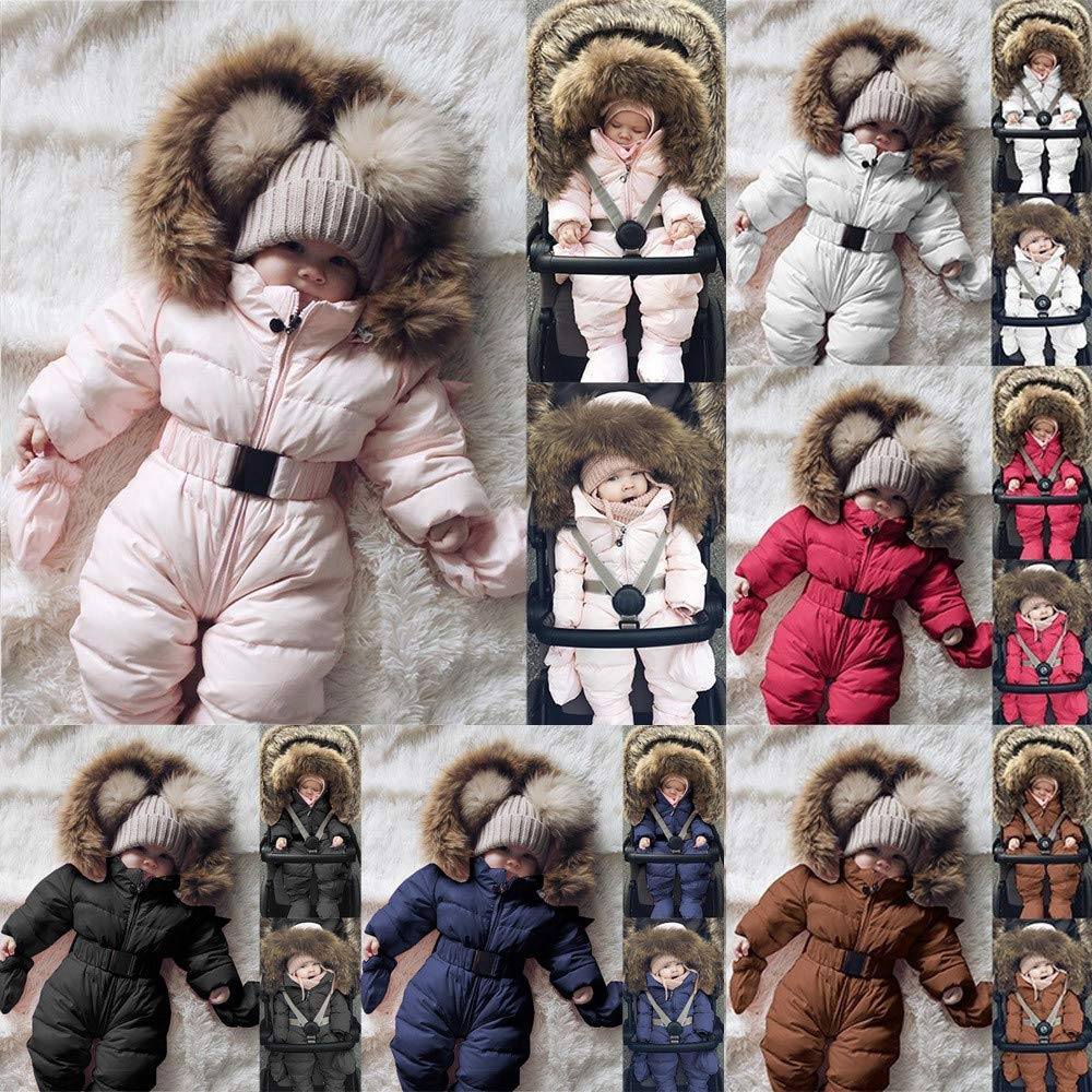 Newborn Baby Winter Thicken Snowsuit Warm Fleece Hoodie Romper Puffer Jacket Jumpsuit Coat 0-24 Months