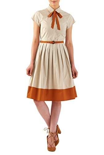 1940s Style Dresses and Clothing  Tie neck belted stretch poplin shirtdress $54.95 AT vintagedancer.com