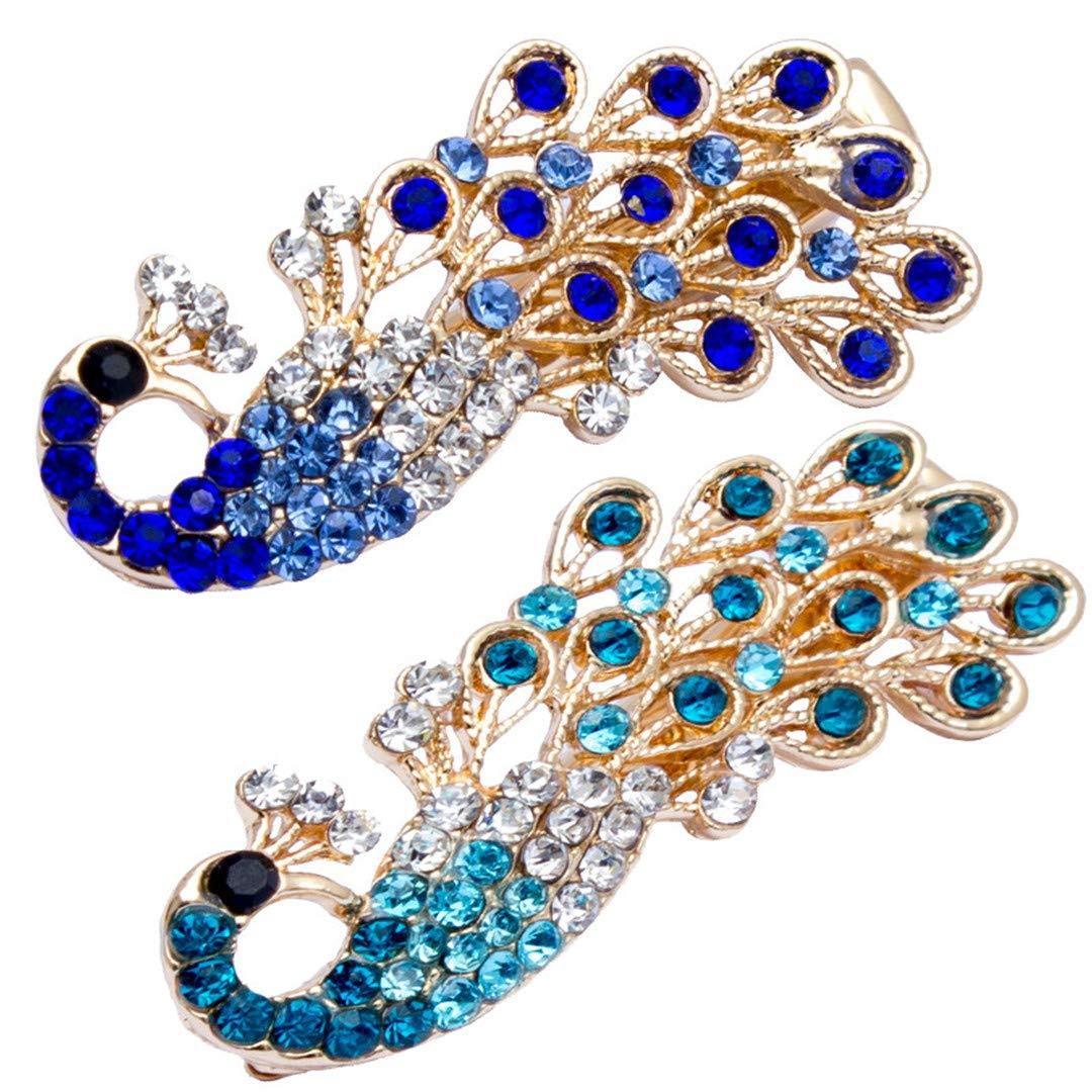 New Blue Women Retro Crystal Peacock Hairpins Hair Stick Hair Clip Jewelry 4# BT