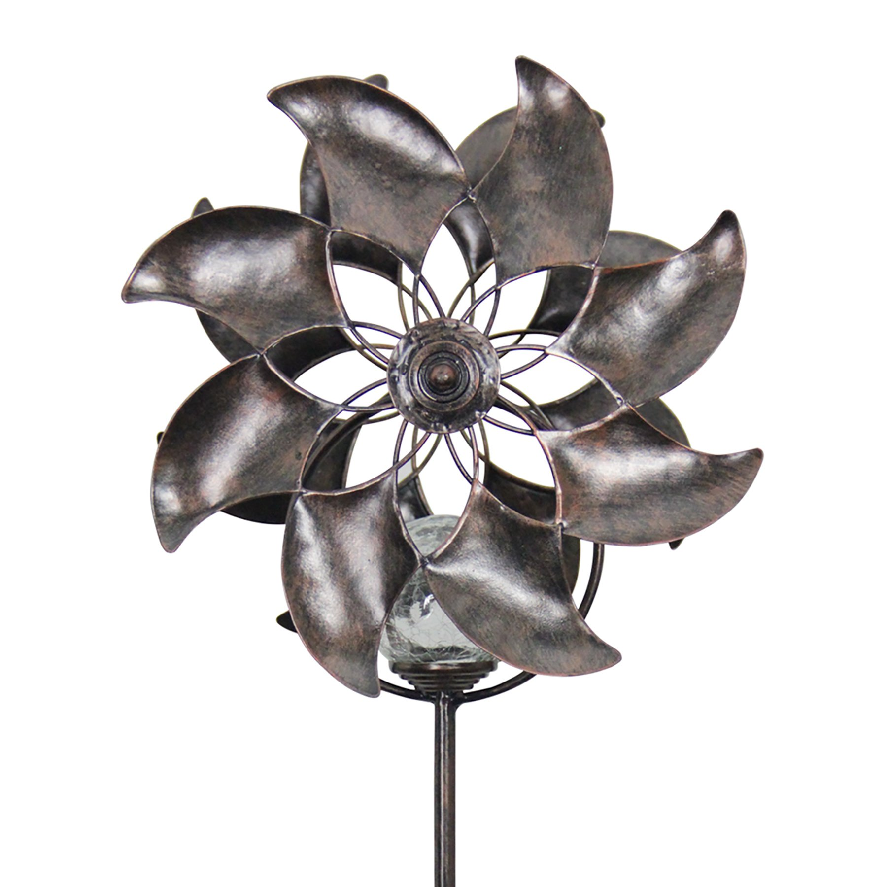 Exhart Windmill Double Garden Spinner, Metal and Glass, Crackle Ball, Solar Powered, 8'' L x 7'' W x 42'' H