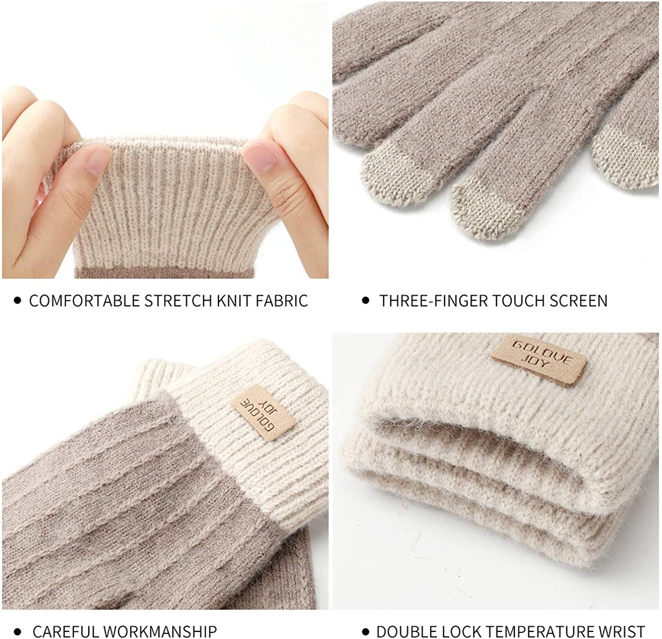 Guanti invernali da donna a 3 dita con touch screen a doppio strato da donna VINTONEY per touchscreen