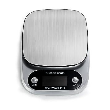 BESTOOL HSN - Báscula de cocina, Digital Báscula [10000 g, 1 g] versátil cocina cocina, acero inoxidable (sin batería): Amazon.es: Hogar