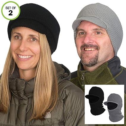 ef128d1fbe1c56 Amazon.com: Evelots 2 in 1 Winter Hat-Face Mask-Unisex-Windproof-Ski-(Black  & Grey)-Set/2: Sports & Outdoors