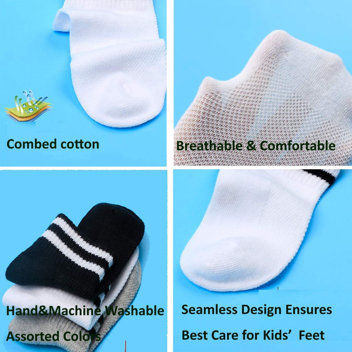 Pair Half Cushion Ankle Socks Low Cut Athletic Ankle Socks Boys Girls Ankle Socks Oohmy Boys 12