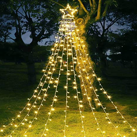Maoyue Outdoor Christmas Decorations Star Lights 335 Led 8 Lighting Modes Outside Tree Decorations For Yard Garden New Year Holiday Wedding Party