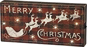 Primitives by Kathy Rustic LED Box Sign, Christmas, Lighted - Merry X-mas