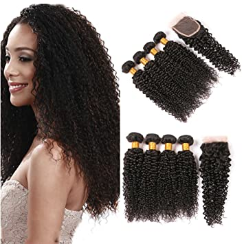 Jerry Curl Hair Bundles With Closure Lace Front With Baby Hair 4X4 Free  Part Swiss Lace 235e46dd63