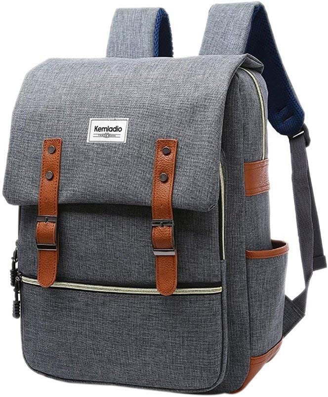 """Kemladio Vintage Laptop Backpack for Men Women College School Backpack Fits 15.6""""Notebook Casual Daypack for Travel and Trip (Gray)"""