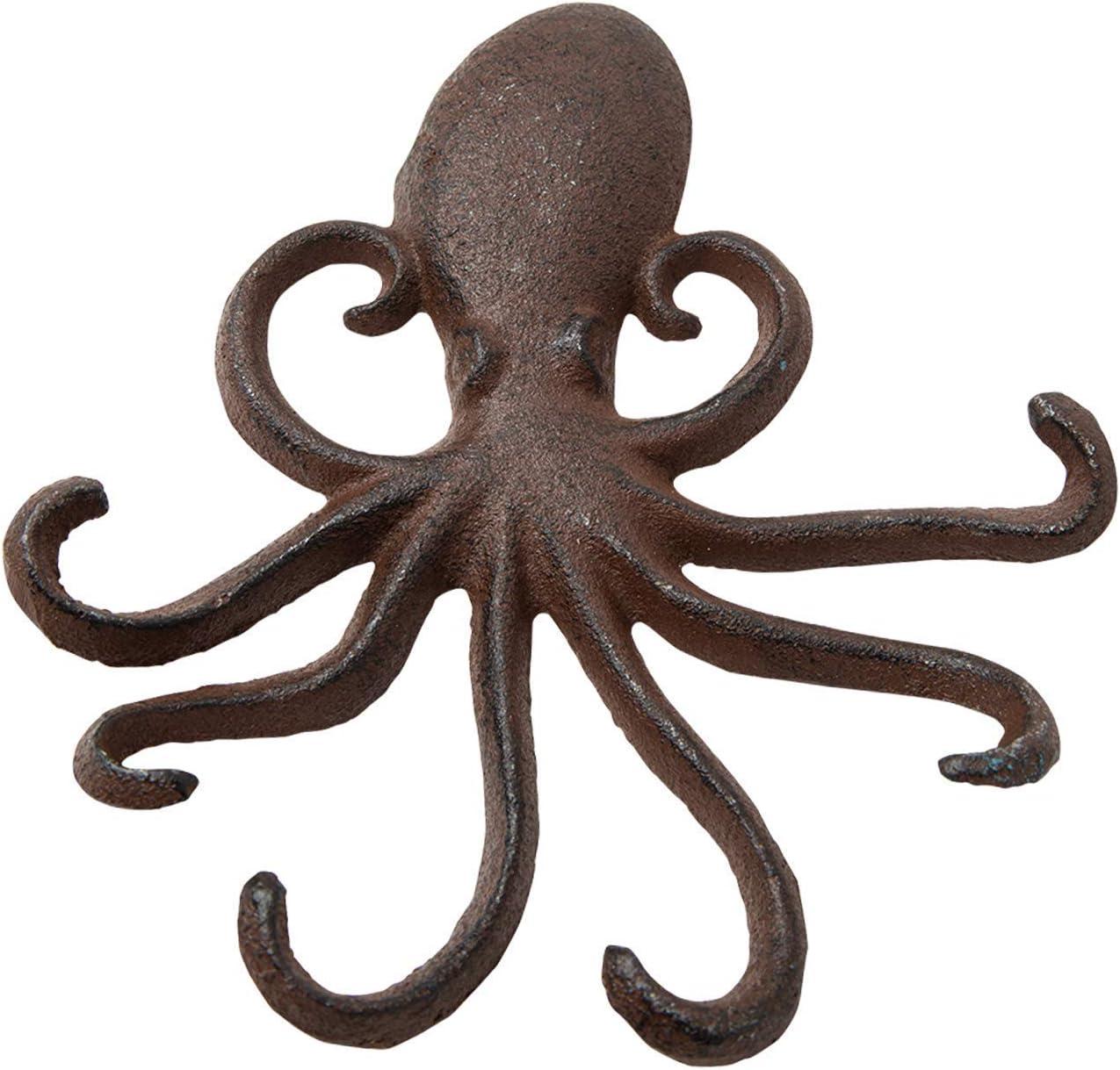 Gancho de Pared de Hierro Fundido Octopus - Tentáculos de Pulpo Decorativos para la Entrada, la Puerta o el baño - Novedosa decoración de Pared - Color marrón rústico con Tornillos y Anclas incluidos