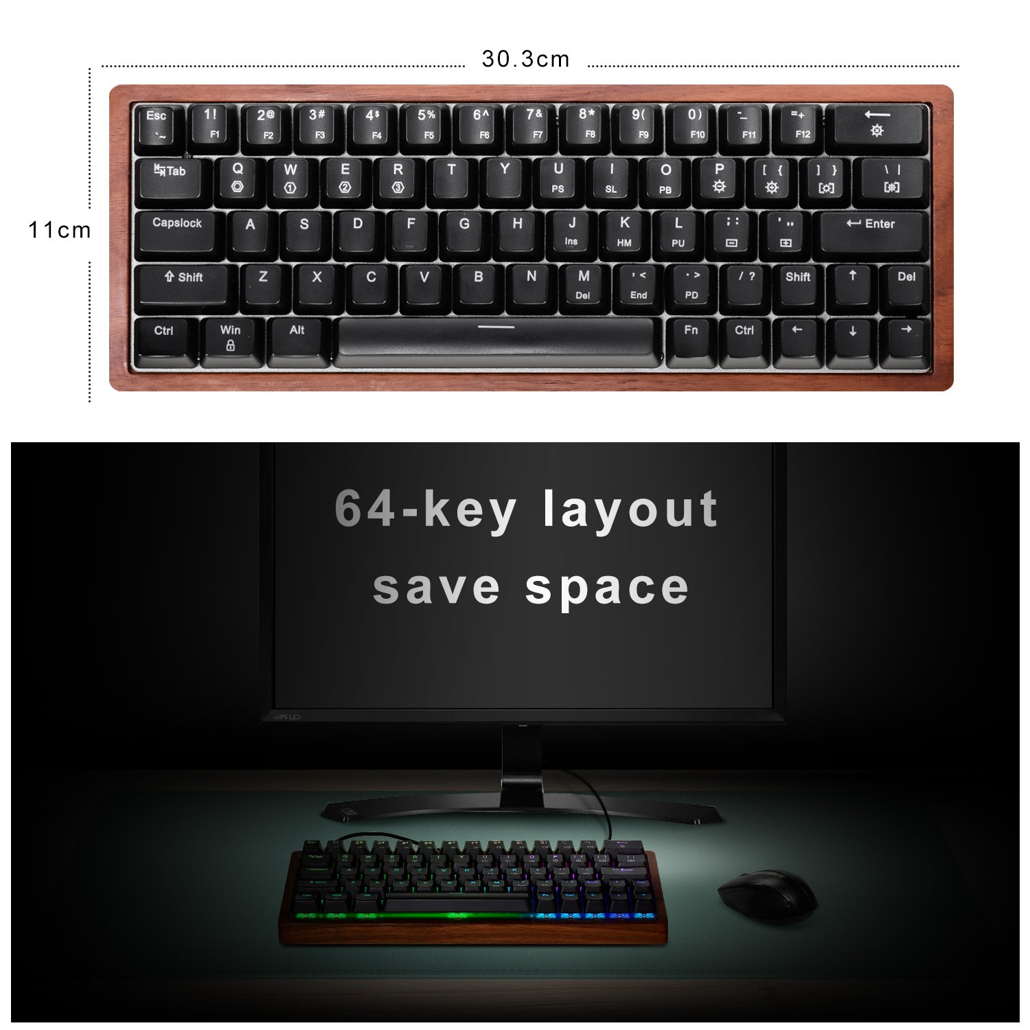 RGB LED Backlit and Wooden Case for Mac PC Laptop Cherry MX Red Switches MAIDERN RGB Mechanical Gaming Keyboard,Hot-plugging Compact 64 Keys