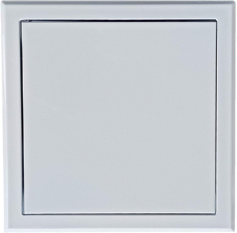 Panel de Acceso Hecho de Metal Galvanizado en Color Blanco con Recubrimiento en Polvo RAL 9016, Trampilla de Inspección de Forma Cuadrada, Puerta de Acceso de Cartón Yeso. (20 x 20 cm)