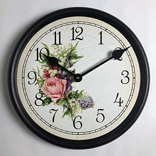 Country Floral Wall Clock, Available in 8 Sizes, Most Sizes Ship 2-3 Days, Whisper Quiet.