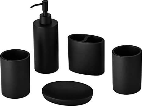 Amazon Com Resin Bathroom Accessories Set In Black Bathroom Counter Accessories Set With Soap Dispenser Toothbrush Holder 2 Tumbler Cup Soap Dish Complete Accessory Set Home Kitchen