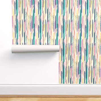 Spoonflower Peel And Stick Removable Wallpaper Abstract Brush Stroke Brushstroke Pastel Painted Stripe Print Self Adhesive Wallpaper 12in X 24in Test Swatch Amazon Com