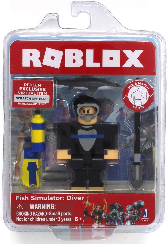 Amazon Com Roblox Fish Simulator Diver Single Figure Core Pack