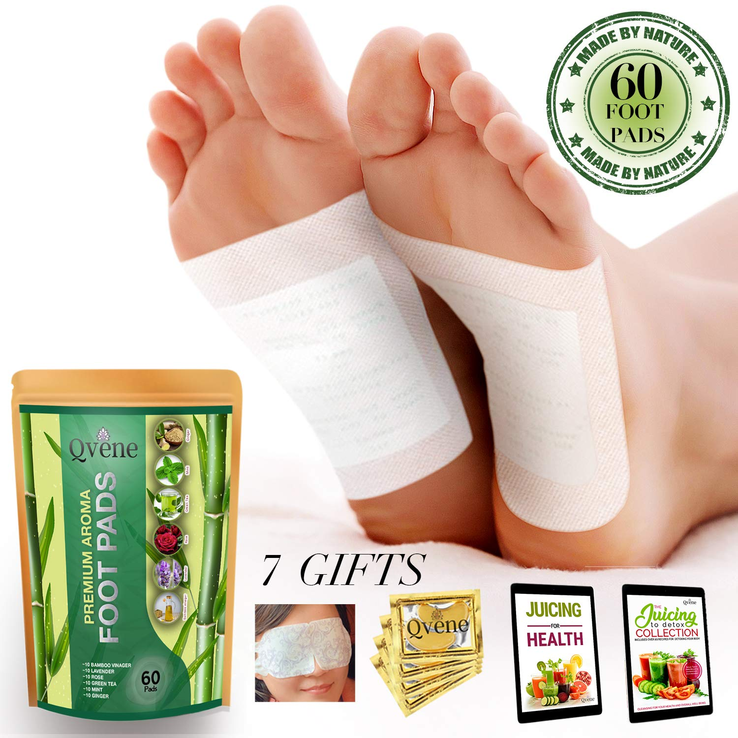 Qvene (60pcs) Premium Aromatherapy Body Cleanse Foot Pads - Natural Sleeping Aid, Stress Relief, Pain Relief, Organic Pads for Foot Care - 60 Pads, plus Bonus Products