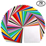 Permanent Adhesive Backed Vinyl Set by Ohuhu, 60 Vinyl Sheets + 10 Transfer Tape Sheets, 30 Assorted Colors 12
