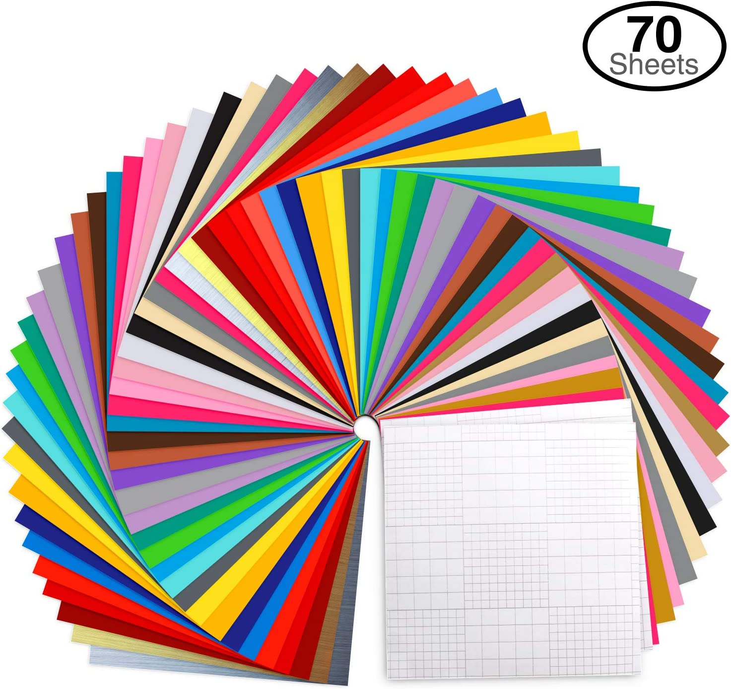 """Ohuhu Permanent Adhesive Backed Vinyl Set, 60 Vinyl Sheets + 10 Transfer Tape Sheets, 30 Assorted Colors 12"""" x 12"""", for Silhouette Cameo, Cricut, Other Craft Cutters (70 Pack) Christmas Decorating"""