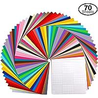 "Vinyl Sheets, Ohuhu 70 Permanent Adhesive Backed Vinyl Sheets Set, 60 Vinyl Sheets 12"" x 12"" + 10 Transfer Tape Sheets…"