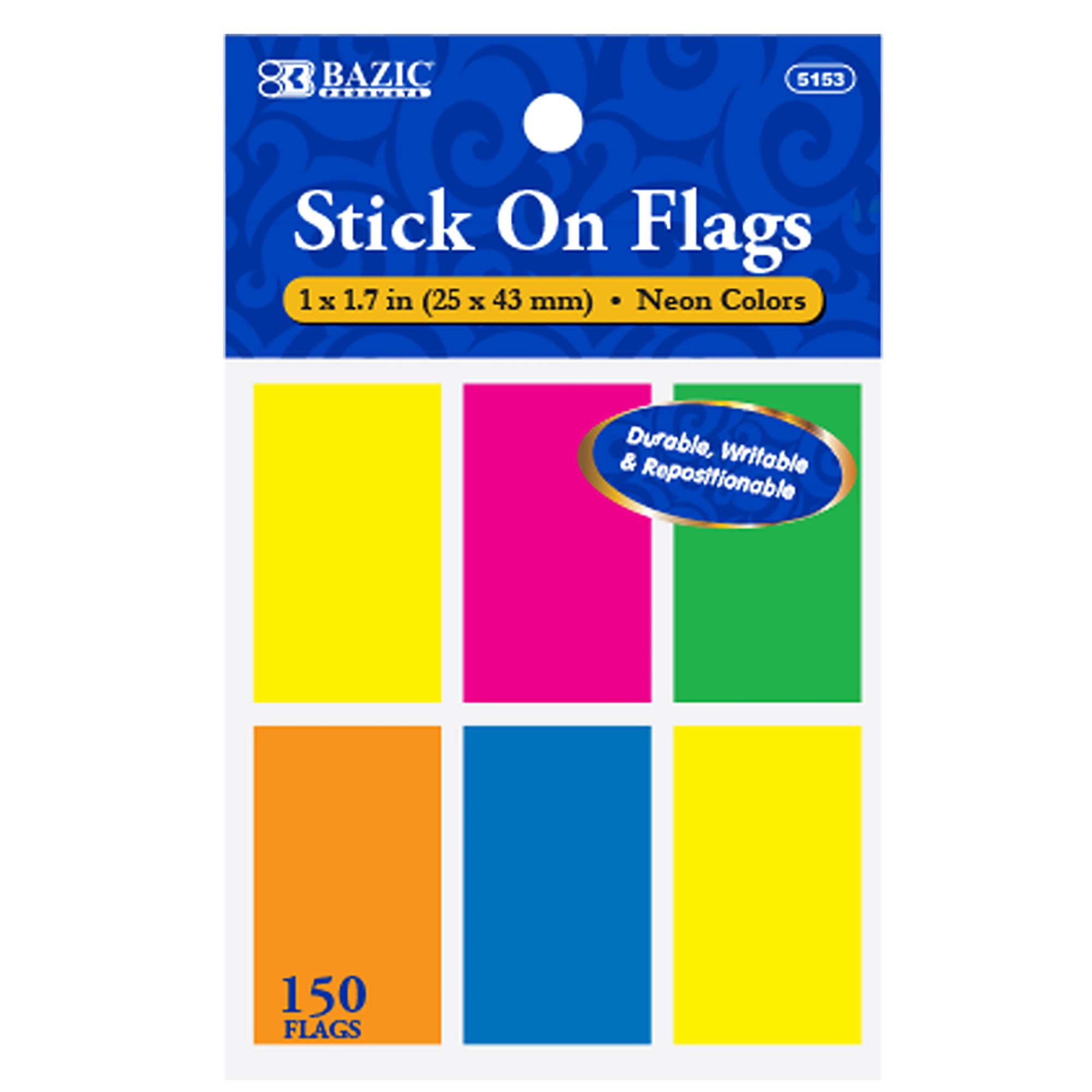 BAZIC 25 Ct. 1'' X 1.7'' Neon Color Standard Flags (6/Pack) (Box of 24) by B BAZIC PRODUCTS