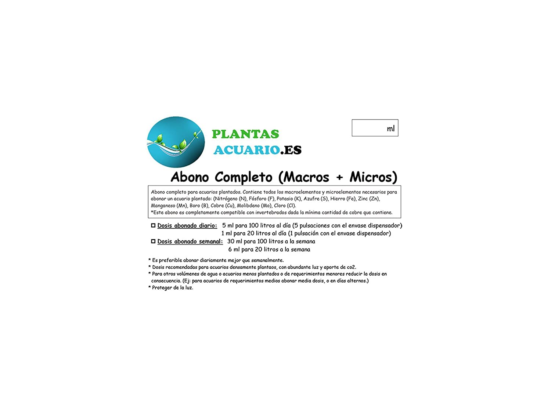 Abono Líquido Completo para Acuario (Macros + Micros) 500 ml: Amazon.es: Jardín