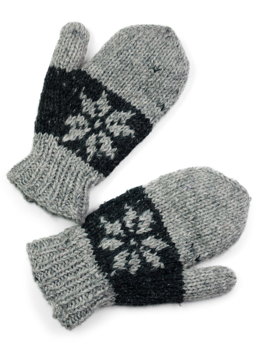 TCG Men's Hand Knit Wool Snowflake Mittens - Pewter & Charcoal