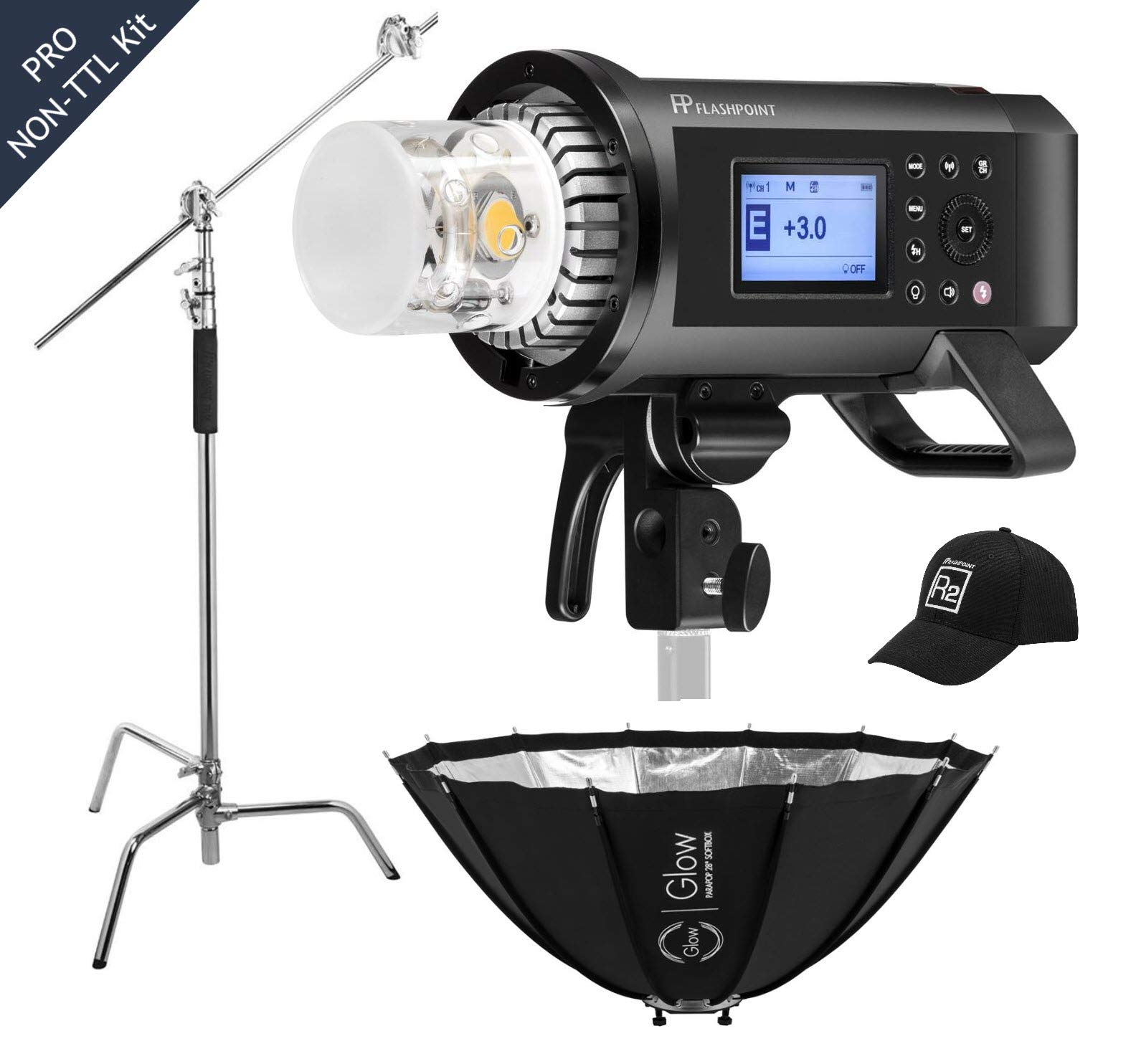 Flashpoint XPLOR 600PRO R2 HSS Battery-Powered Monolight Kit with Glow ParaPop and C-Stand. by Flashpoint (Image #1)