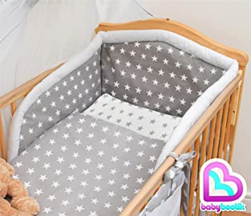3 Piece Baby Bedding Set with Thick Bumper to fit 140x70cm Cot Bed Plain White