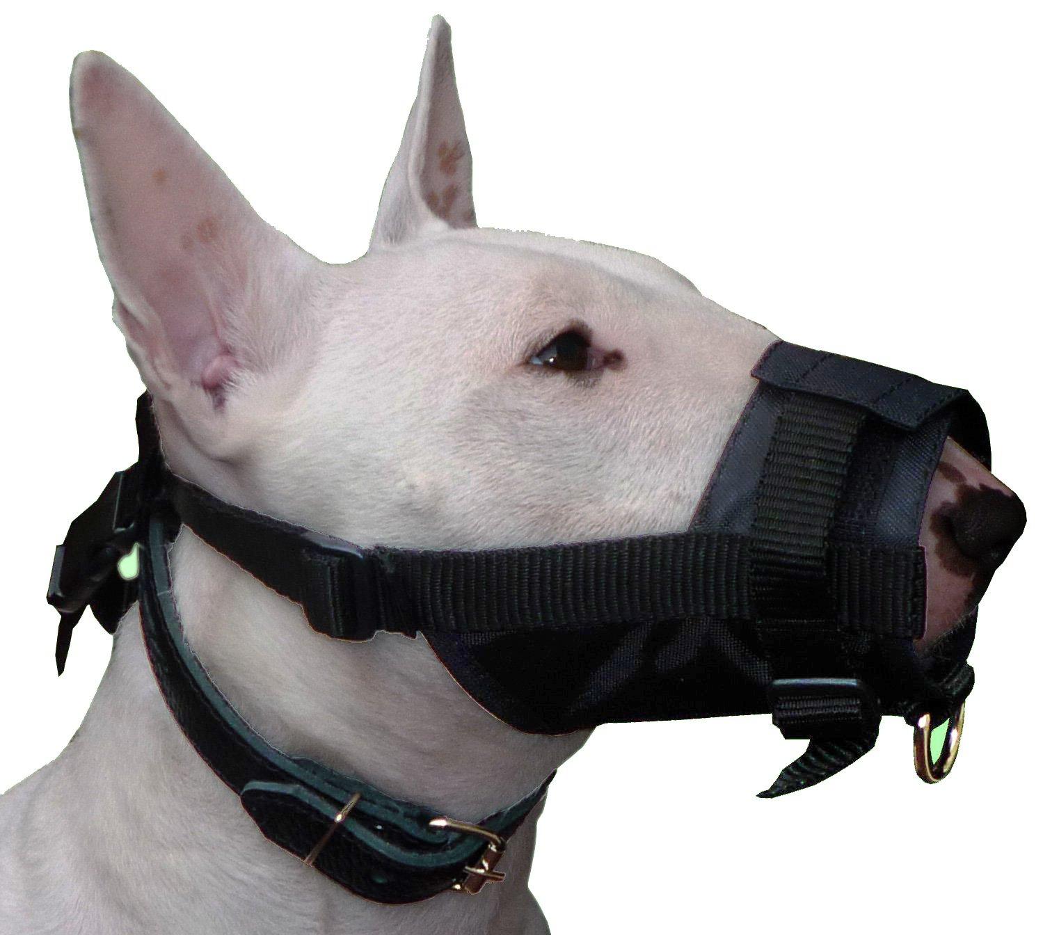 Adjustable Nylon Dog Muzzle No Bite 10''-13.3'' Size Large, Black, Bullterrier, Boxer, Doberman, German Shepherd