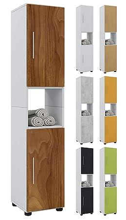 VCM Hebola Armoire Haute de Salle de Bain Bois, Blanc, 152 x 31 x 30 cm